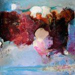 """""""Amétrine"""" 2015 - Technique mixte sur toile marouflée sur Isorel 13 x 13 cm - Copyright © 2015 - AERIN m. Hellenia"""