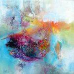 """""""Apparition céleste"""" 2015 - Technique mixte sur toile 36 x 36 cm - Copyright © 2015 AERIN m."""