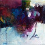 """""""Au fil de l'eau """" 2015 - Technique mixte sur toile 19 x 19 cm marouflée sur Isorel ( 33 x 33 cm avec encadrement) - Copyright © 2015 - AERIN m. Hellenia"""