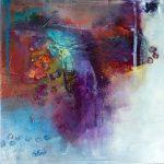 """""""Au fil de l'eau 2"""" 2015 - Technique mixte sur toile 25 x 25 cm marouflée sur Isorel ( 39 x 39 cm avec encadrement) - Copyright © 2015 - AERIN m. Hellenia"""