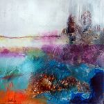 """""""Avalon"""" 2014 - Technique mixte sur papier 13 x 13 cm marouflé sur Isorel ( 27 x 27 cm avec encadrement) - Copyright © 2014 - AERIN m. Hellenia"""