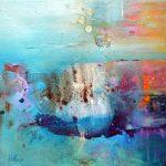 """""""Avalon 2"""" 2015 - Technique mixte sur toile 36 x 36 cm marouflée sur Isorel ( 50 x 50 cm avec encadrement) - Copyright © 2015 - AERIN m. Hellenia"""