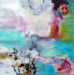 """""""Eternal Purity"""" 2014 - Technique mixte sur papier 36 x 36 cm marouflé sur Isorel ( 50 x 50 cm avec encadrement) - Copyright © 2014 - AERIN m. Hellenia"""