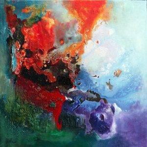 « Crazy Love » 2011 - Technique mixte sur toile 80 x 80 cm - Copyright © 2011- AERIN m. Hellenia