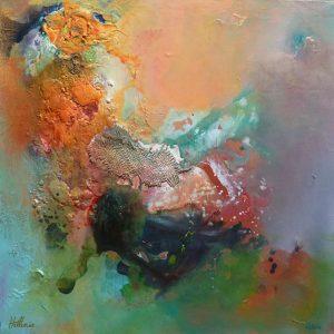 « L'ailleurs m'appelle » 2011 - Technique mixte sur toile 70 X 70 cm - Copyright © 2011 - AERIN m.