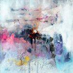 """""""Les lumières d'Hessdalen"""" 2014 - Technique mixte sur papier 25 x 25 cm marouflé sur Isorel ( 39 x 39 cm avec encadrement) - Copyright © 2014 - AERIN m. Hellenia"""