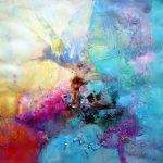 """""""Mon cœur dans ses mains"""" 2014 - Technique mixte sur papier 36 x 36 cm marouflé sur Isorel ( 50 x 50 cm avec encadrement) - Copyright © 2014 - AERIN m. Hellenia"""
