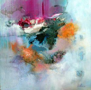 """""""Mountain of Angels"""" 2014 - Technique mixte sur toile 50 x 50 cm - Copyright © 2014 - AERIN m."""