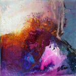 """""""Mystérieux enchantement"""" 2015 - Technique mixte sur toile 13 x 13 cm marouflée sur Isorel ( 27 x 27 cm avec encadrement) - Copyright © 2015 - AERIN m. Hellenia"""