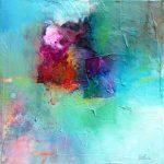 """""""Nébuleuse"""" 2015 - Technique mixte sur toile 25 x 25 cm marouflée sur Isorel ( 39 x 39 cm avec encadrement) - Copyright © 2015 - AERIN m. Hellenia"""
