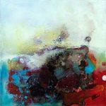 """""""Star dust 2"""" 2015 - Technique mixte sur toile 25 x 25 cm marouflée sur Isorel ( 39 x 39 cm avec encadrement) - Copyright © 2015 - AERIN m. Hellenia"""