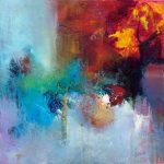 """""""Terres de feu"""" 2015 - Technique mixte sur toile 36 x 36 cm marouflée sur Isorel ( 50 x 50 cm avec encadrement) - Copyright © 2015 - AERIN m. - Hellenia"""
