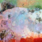 """""""La prairie aux Immortelles"""" 2018 - Acrylique et collages sur toile 100 x 81 cm - Copyright © 2018 - AERIN m."""